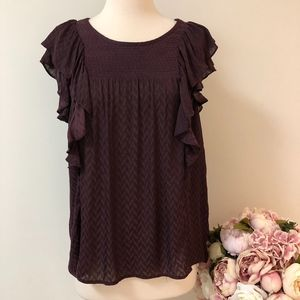 Meadow Rue by Anthropologie Purple Ruffle Top sz14